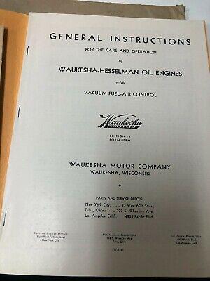 Waukesha-hesselman Oil Engines Care And Operation Manual 1947