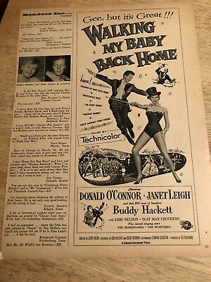 Vintage 1954 Movie Ad -  WALKING MY BABY BACK HOME Donald O'Connor, Janet Leigh
