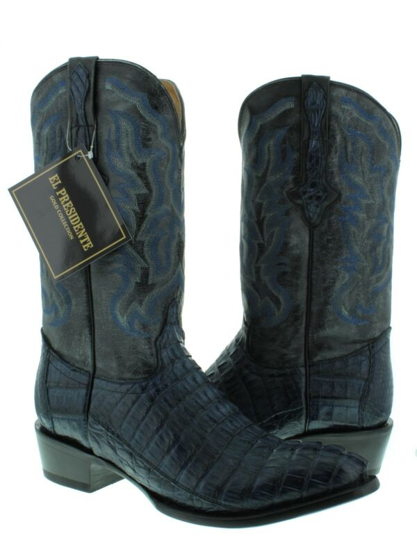 Mens, Blue, Genuine, Crocodile, Skin, Western, Leather, Cowboy, Boots, Tail, Cut, Round