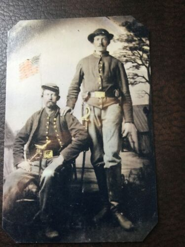 2 Civil War Military Soldiers With Flag tintype C671RP