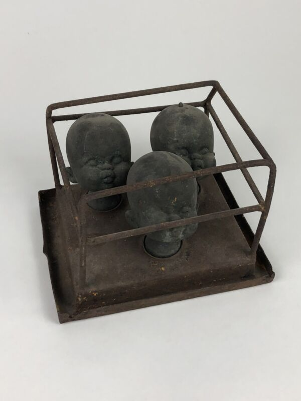 Antique Copper Doll Head Form/Mold Set - Irwin Toy Factory (Toronto)