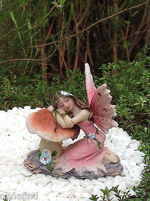 Miniature Figurine FAIRY GARDEN ~ Sleeping Pink Glitter Fairy on Mushroom ~ NEW