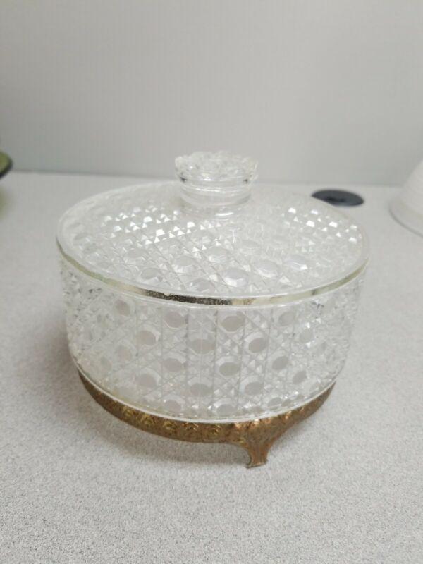 AVON DIAMOND WAFFLE PATTERN LUCITE VANITY / POWDER JAR