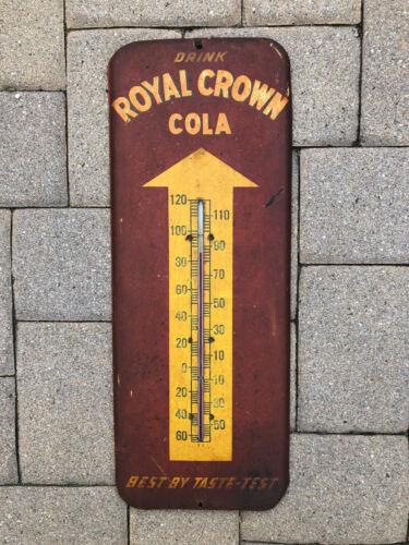 Original Vintage Metal Royal Crown Cola Advertising Thermometer