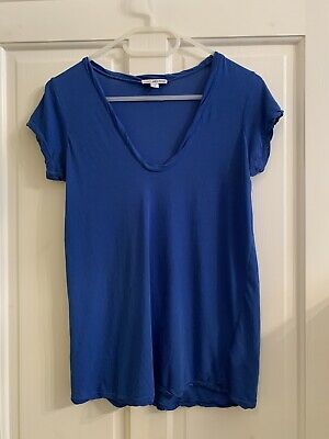 JAMES PERSE High Gauge Cotton Tee In Bright Blue Size 0 WEK3182