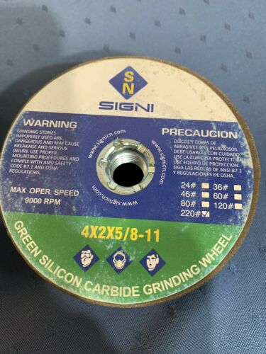 60 Grit SIGNI 4-Inch Green Grinding Stone with 5//8-11 Thread