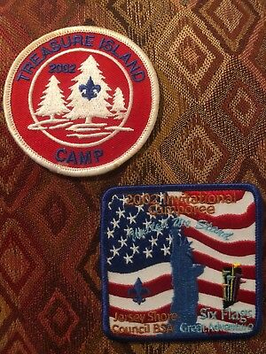 2 New Boy Scouts Patch 2002 Six Flags Camporee Statue Of Liberty Treasure Island