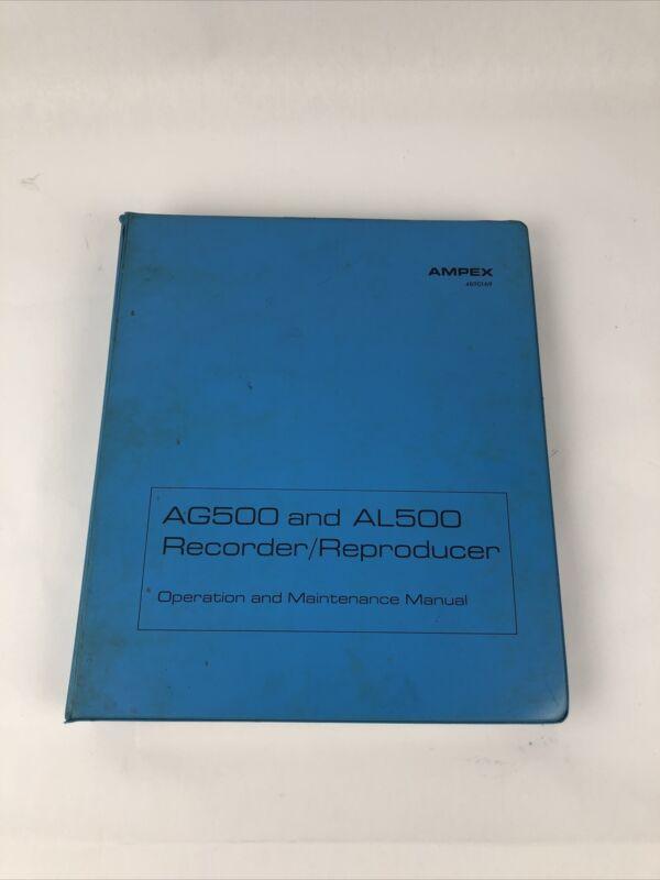 Vintage 1969 AMPEX AG500 AL500 Recorder/Reproducer Operation & Maint Manual