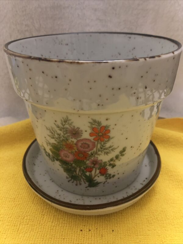 Vintage 1970's Japanese indoor planter with drip plate