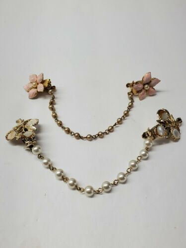 VTG Sweater Guard Clip Set of 2 Beaded Faux Pearls Gold Tone Pink Flower