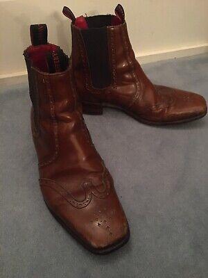 Jeffery West Mens Leather Chelsea Boots Size 8 EU42 Tan Brown