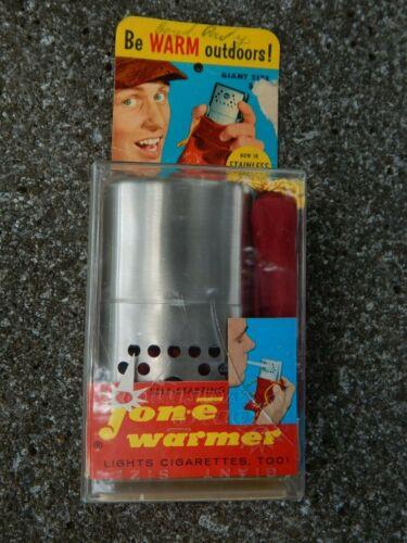 NOS VINTAGE ALADDIN JON-E HAND WARMER GIANT SIZE W BOX AND FELT BAG Stainless