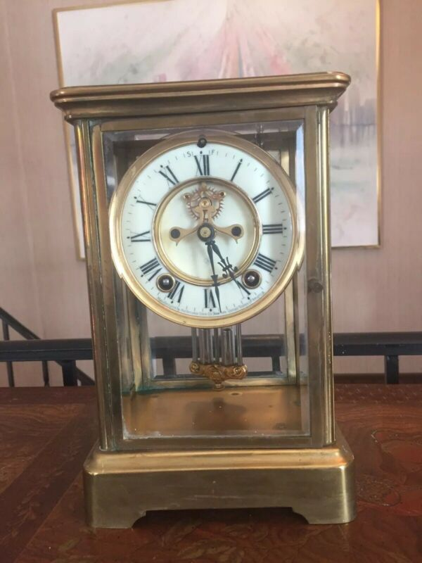 Rare Elegant Mantle Clock ANSONIA BRASS AND GLASS MANTLE CLOCK