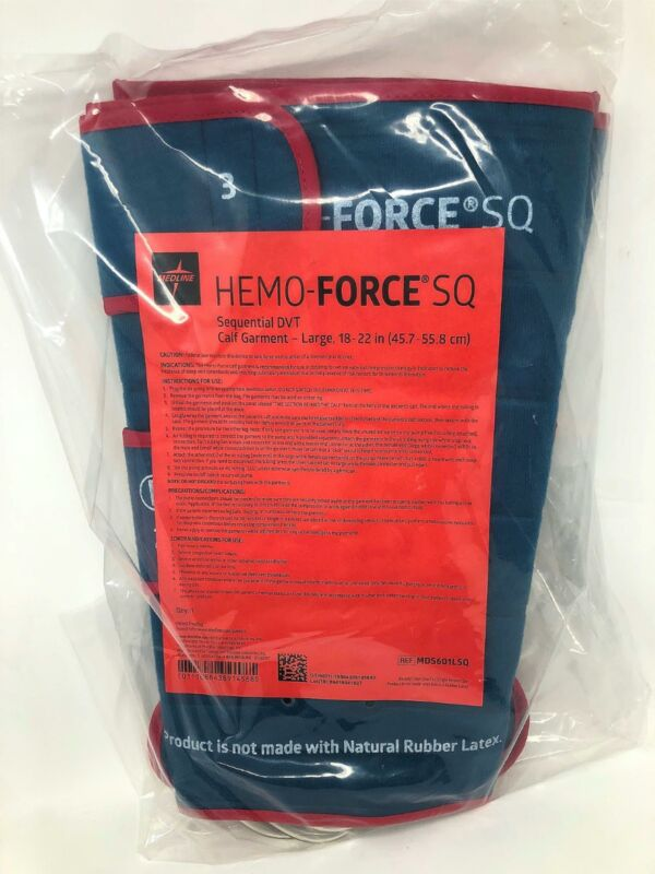 Medline Hemo-Force SQ Sequential DVT Calf Garment Pair - Large - MDS601LSQ - NEW