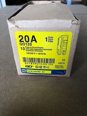 New Box Of 10 Pcs Qo120 Square D Sqd Circuit Breaker 1 P 20 Amp 120v