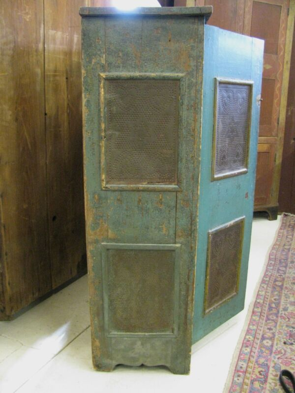 Antique Painted Punched Tin Pie Safe Shipping Available