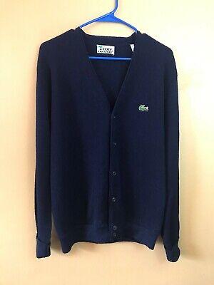 IZOD LACOSTE Blue Orlon Acrylic Button Front Cardigan Sweater Size Large