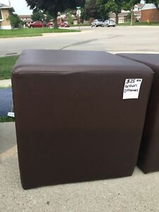 Faux leather brown Ottoman