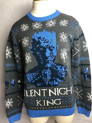 Game of Thrones Adult Gray & Blue Christmas Sweater Size Small