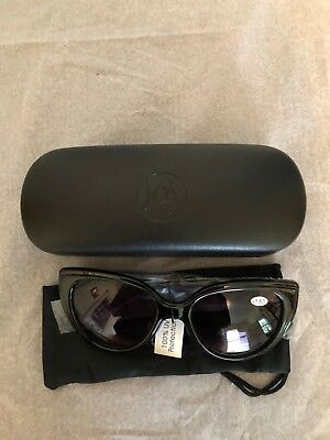 JOY MANGANO NY BIFOCAL GLASSES WITH NAVY CAGE AND CLEANING BAG 1.5 FUMEE CRYSTAL