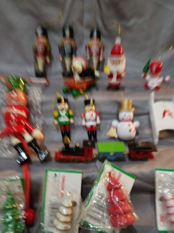 Vintage Wooden Christmas Ornaments Lot Of 16.. Some NIP