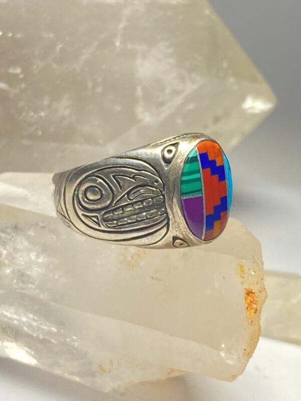 Haida ring turquoise coral blue lapis Alaska sterling silver women men size 11