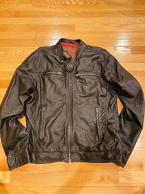Superdry Real Hero MoTo Biker Leather Jacket Size: XL
