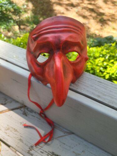 Rare Vintage Handmade Red Venetian Face Mask