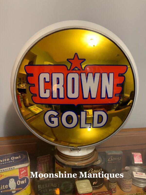 Original CROWN GOLD GASOLINE Gas Pump Globe - Gas & Oil