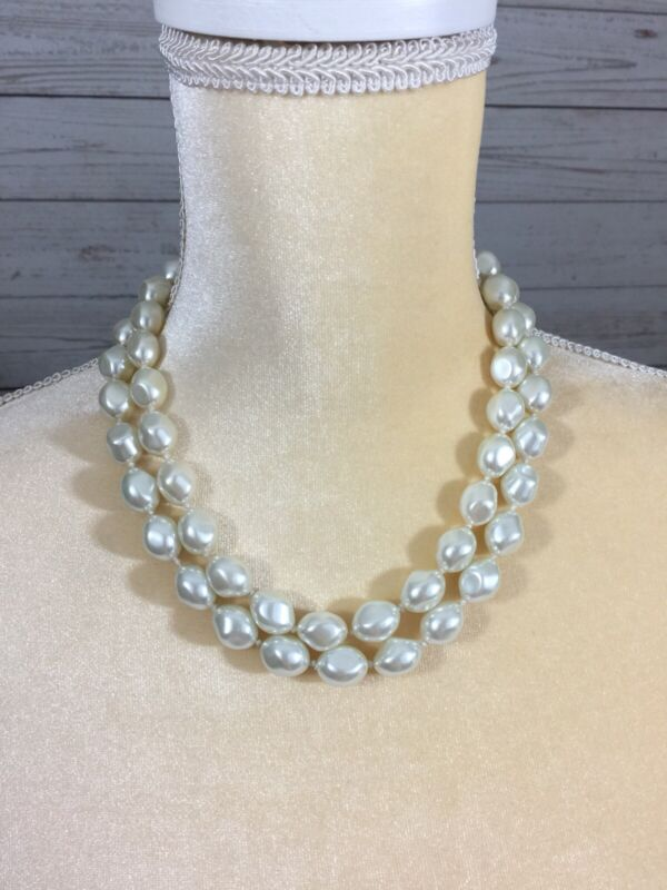 Pearl Faux Glass Double Strand Baroque Necklace Heavy White Elegant
