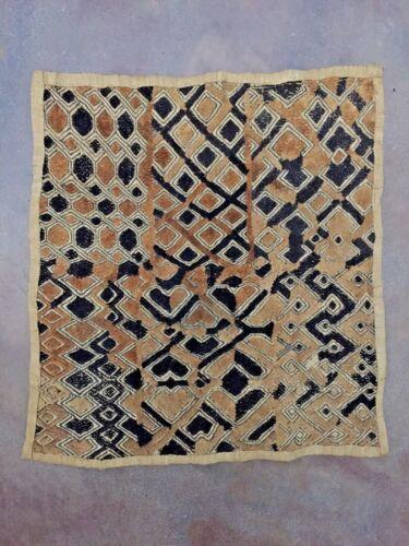 Old HandWoven Geometric African Kuba Shoowa Cloth Textile