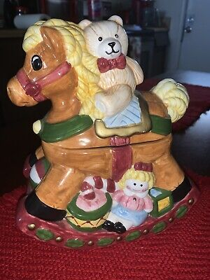"1997 ""JAY IMPORT Rocking Horse And Friend Cookie Jar Handpainted"