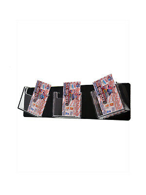 Business Card Holder 3 Pocket Clear Black Wall Mount Vertical