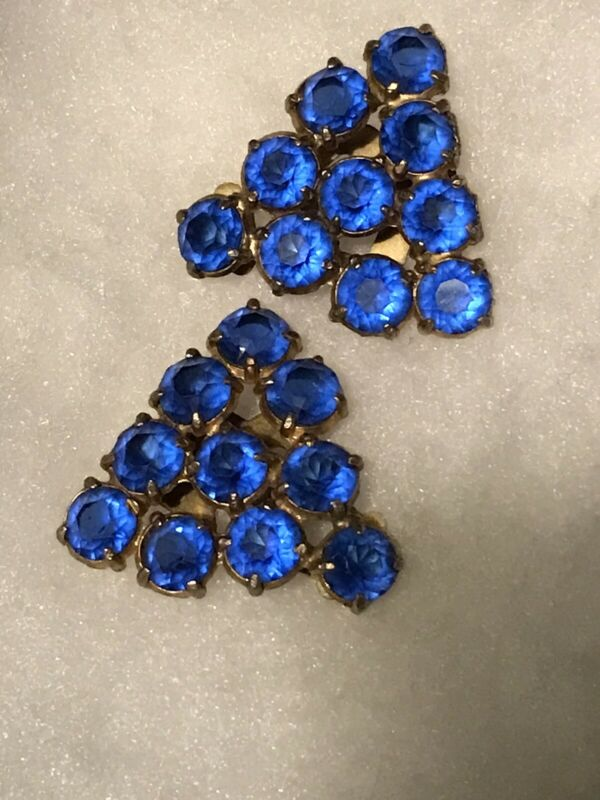 """Pair 1-1/2 x 1-1/2"""" Bright Mid Blue Glass Dress Clips.  Gorgeous! Unsigned Gold"""