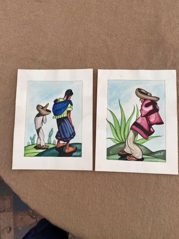 2 Antique Mexican Watercolors Signed Jesus McMenamin Book Featured Minty