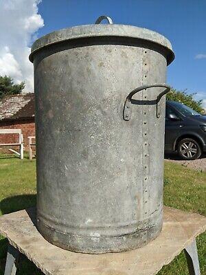Vintage Galvanised Bin~Dustbin~Planter~Rustic~Feed Bin~Garden Storage~Riveted~
