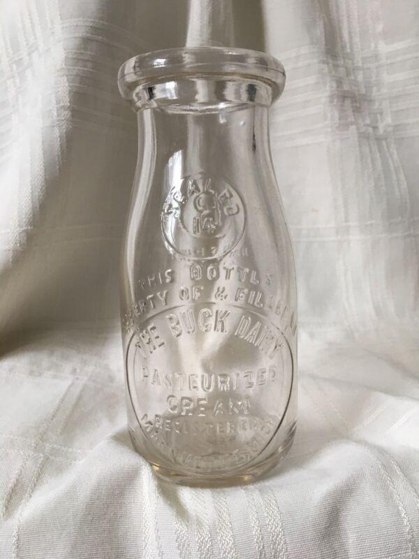 Vintage Half Pint Milk Bottle Buck Dairy Marquette Michigan 1933