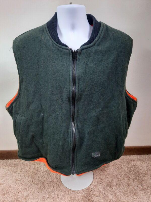 Vintage Codet Mens Wool Vest 2X 2XL Reversible Green Hunting Blaze Orange Zip