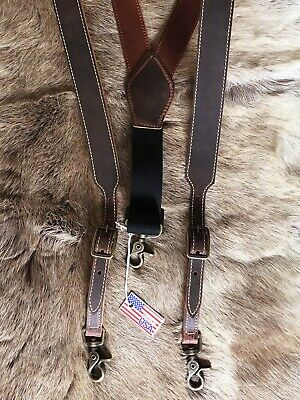 USA Made Nocona Western Leather Suspenders Heavy Duty Brown -