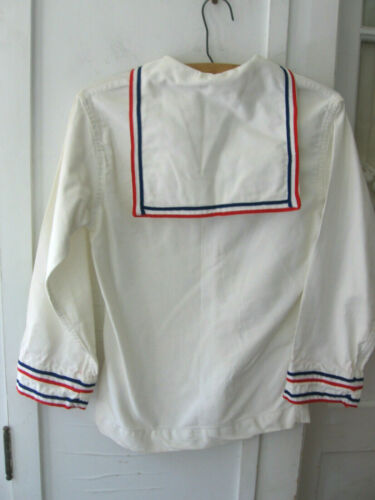 VINTAGE WHITE COTTON SAILOR SHIRT WITH BLUE-RED STRIPE - COSTUME