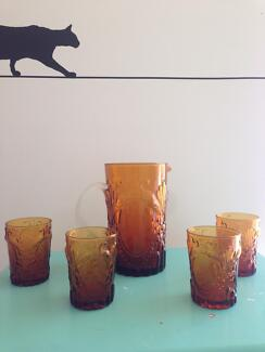 Verona Amber jug and tumbler set