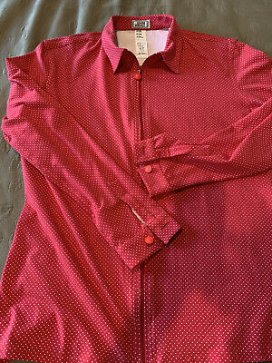 Gianni Versace Vintage Men's Zip Front Shirt - Red & White Dot - Size 50 - NEW
