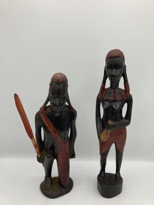 Vintage Ebony Wood Carved African Tribal Statue Figures Woman And Man W/ Spear