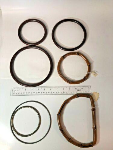 7 Vtg Macrame Rings Faux Bamboo Fake Wood Metal Assorted Sizes Retro 70