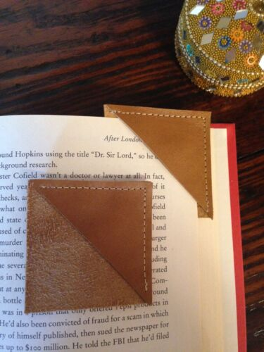 Two Simple and Beautiful Handmade Brown Leather Corner Bookmarks Made in USA