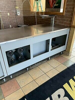 73w X 34.25d X 34-36h Stainless Steel Cabinet Counter Top Table W Cup Dispenser