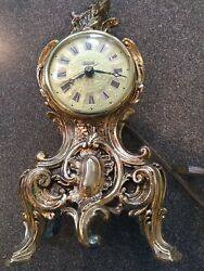 Vintage Louis XV French Style Electric Ornate Gold Mantel Desk Clock WORKING