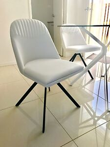 Dolce Swivel White Dining Chairs (2 Available) Dakabin Pine Rivers Area Preview