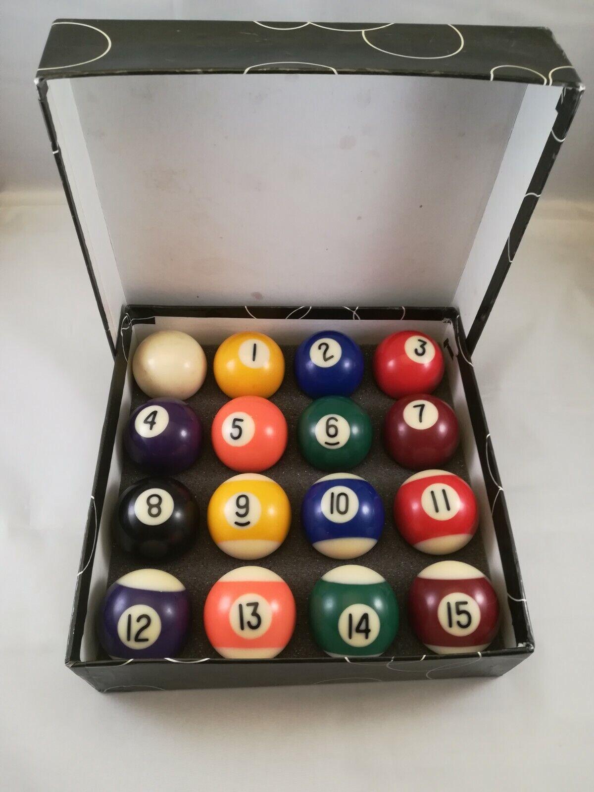 Complete Set 16 Miniature Mini Pool Billiard Balls Diameter Used, Good Condition