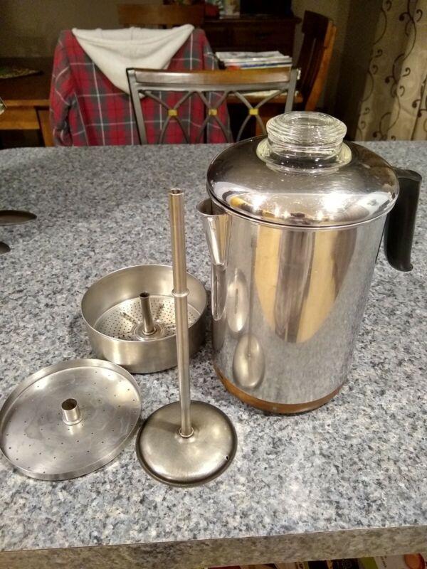 Vintage Revere Ware Copper Clad Bottom 8 Cup Percolator (Read)